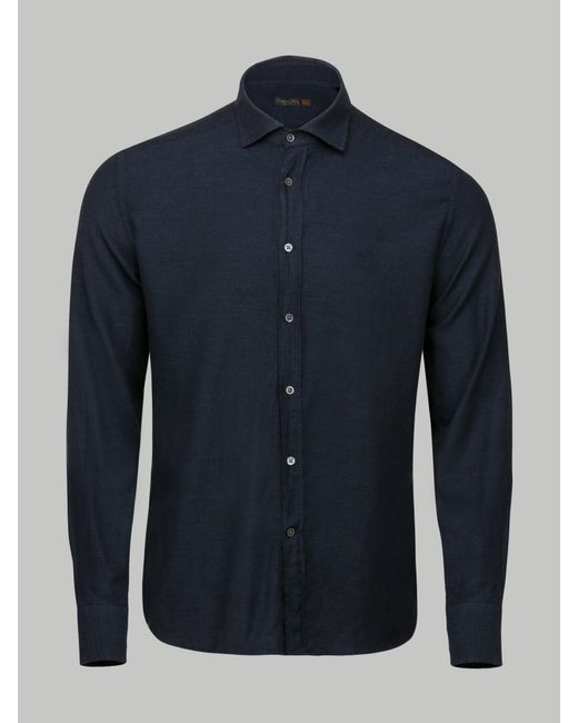 Corneliani - Blue Cutaway Collar Shirt for Men - Lyst
