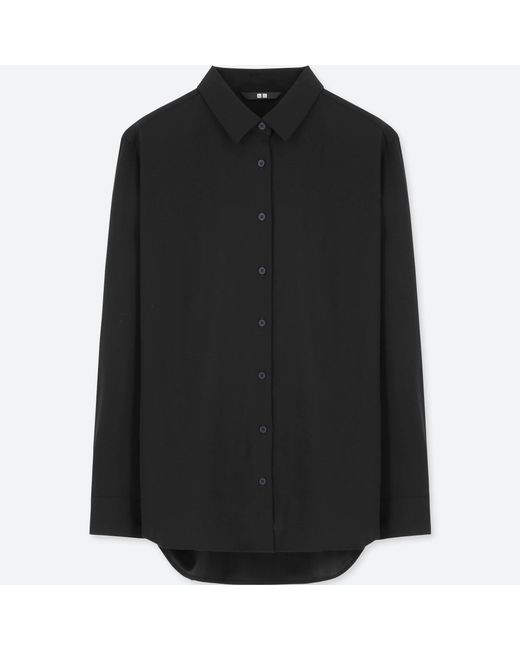 Uniqlo - Black Women Rayon Long-sleeve Blouse - Lyst