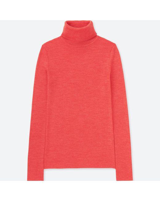 2f4ed0d44245 Uniqlo Women Extra Fine Merino Ribbed Turtleneck Sweater in Pink - Lyst