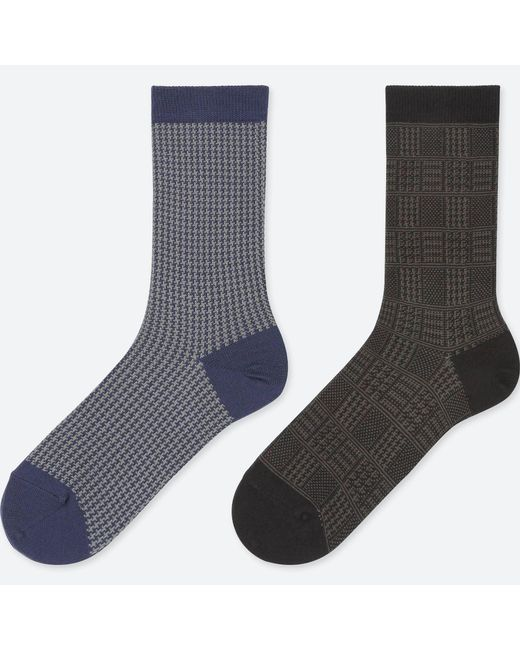 Uniqlo - Blue Women Heattech Houndstooth Socks (2 Pairs) - Lyst