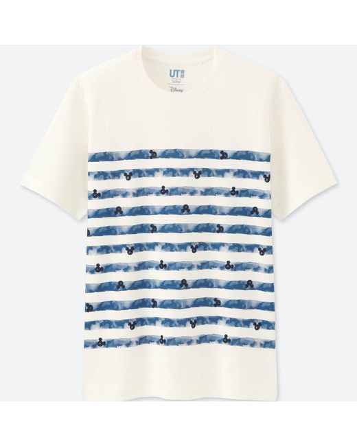 Uniqlo | White Men Mickey Blue Short Sleeve Graphic T-shirt for Men | Lyst