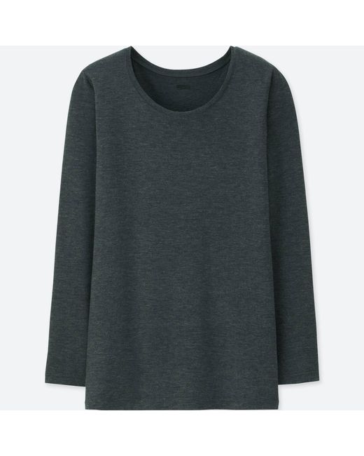 Uniqlo - Natural Women Heattech Crew Neck Long-sleeve T-shirt - Lyst