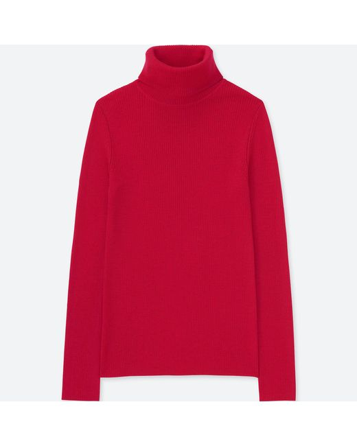 db88192a2f22 Lyst - Uniqlo Women Extra Fine Merino Ribbed Turtleneck Sweater in Red