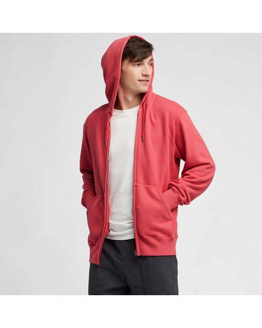 Red Men Long-sleeve Full-zip Hooded Sweatshirt