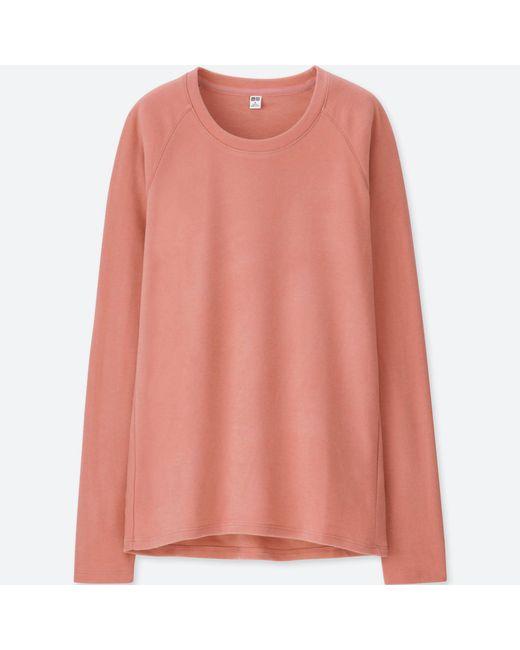Uniqlo - Pink Women Heattech Stretch Fleece Crew Neck Long-sleeve T-shirt - Lyst