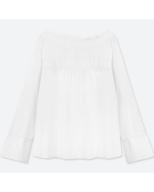 Uniqlo   White Women Soft Cotton Lace Long-sleeve T-shirt Blouse   Lyst