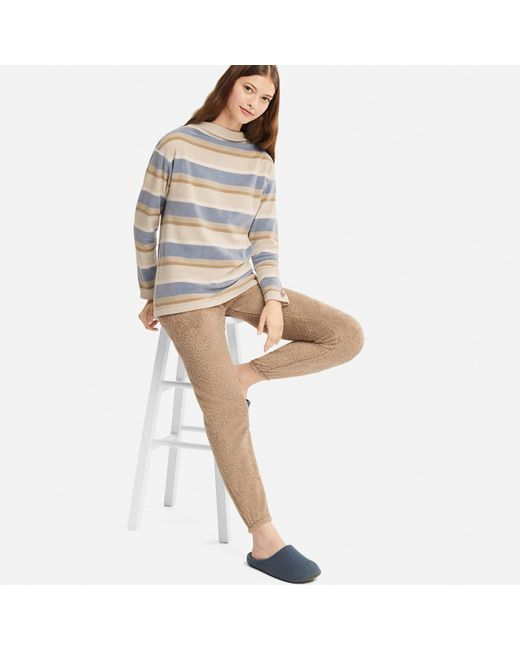 Uniqlo - Blue Women Long-sleeve Striped Fleece Set - Lyst