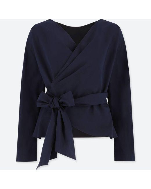 Uniqlo | Blue Women Extra Fine Cotton Cache-coeur Long-sleeve Blouse | Lyst