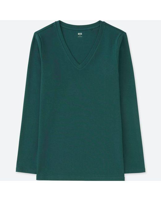 Uniqlo - Green Women Compact Cotton V-neck Long-sleeve T-shirt - Lyst