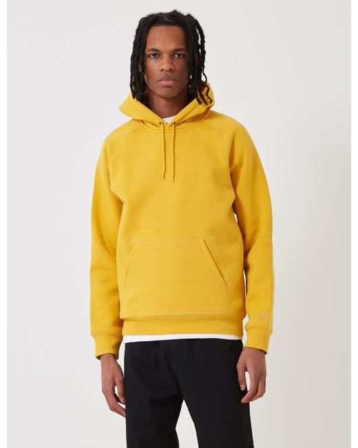 65c564a0 Carhartt - Yellow Chase Hooded Sweatshirt for Men - Lyst ...