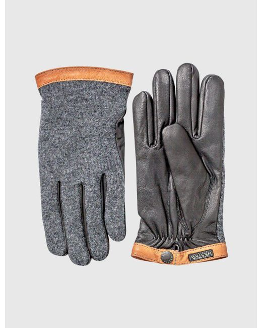 Hestra - Gray Tricot Wool Gloves (wool/leather) for Men - Lyst