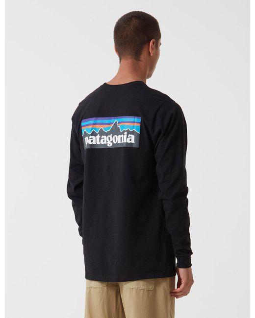 7a6ed45ac34b Patagonia - Black P-6 Logo Responsibili-tee Long Sleeve Shirt for Men ...