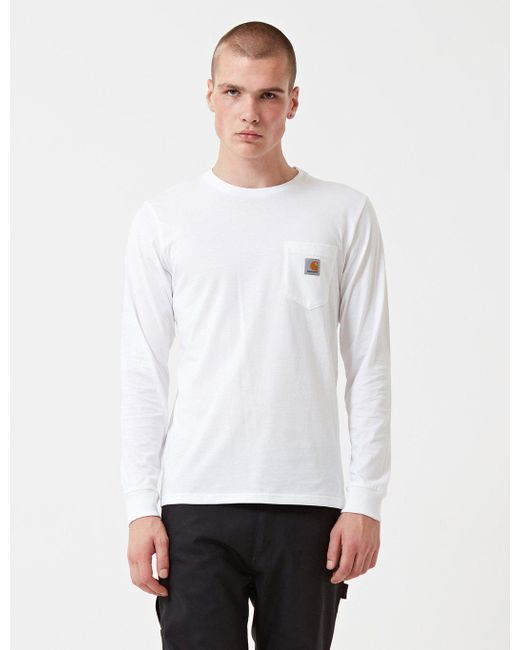 Carhartt pocket long sleeve t shirt in white for men lyst for Carhartt long sleeve t shirts white