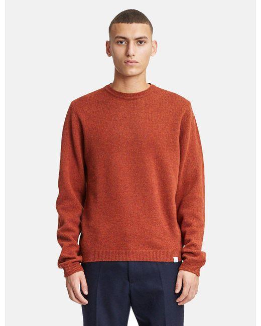 Norse Projects - Orange Sigfred Knit Sweatshirt (lambswool) for Men - Lyst