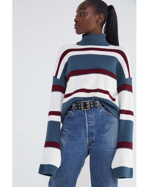 Urban Outfitters - Blue Uo Bobby Striped Turtleneck Sweater - Lyst