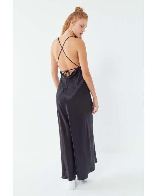 643c04615f7 Urban Outfitters - Black Uo Romi Open-back Maxi Slip Dress - Lyst ...