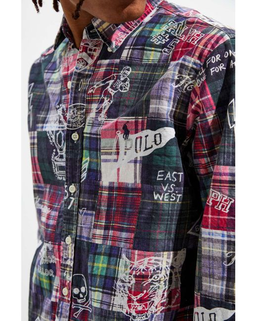 b89dc7cd ... Polo Ralph Lauren - Multicolor Printed Patchwork Oxford Button-down  Shirt for Men - Lyst ...