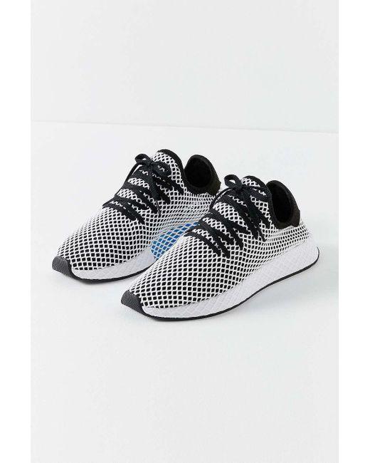 Adidas originali deerupt bianco e nero correre i formatori in nero