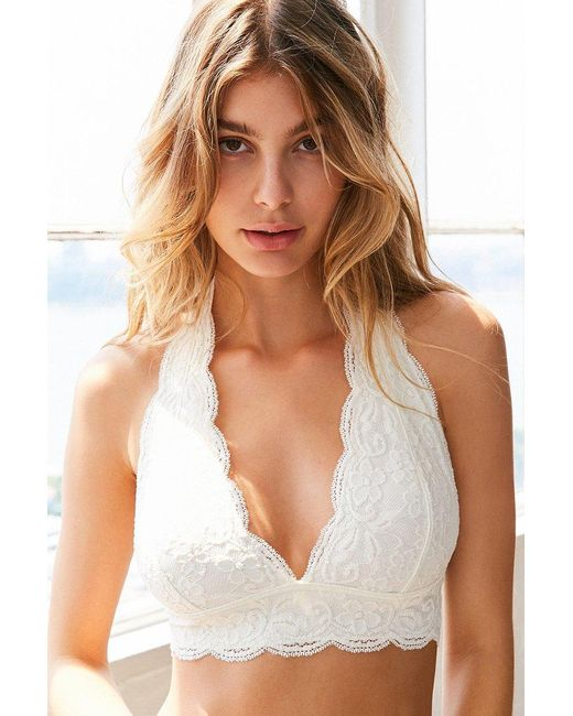 Out from under Lace Halter Bra in White