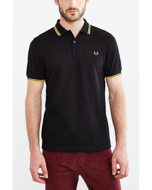 Fred Perry | Black Classic Twin Stripe Polo Shirt for Men | Lyst