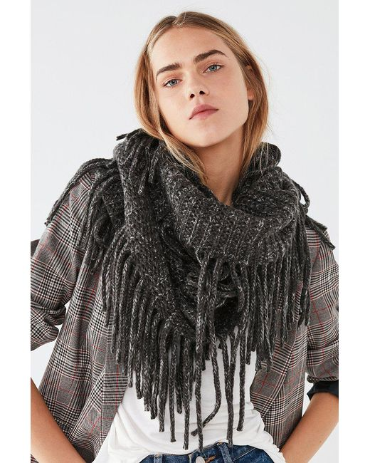 Urban Outfitters | Gray Fringed Infinity Scarf | Lyst