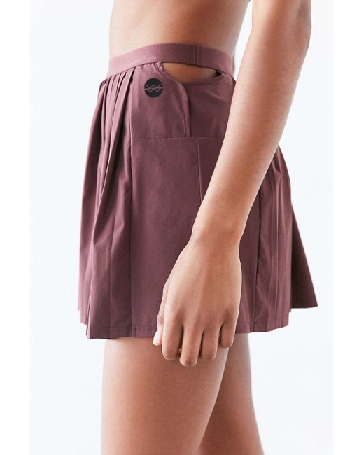 without walls deco pleated tennis skirt in purple maroon