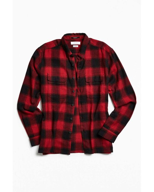 Urban outfitters uo buffalo shadow plaid flannel button for Red buffalo flannel shirt