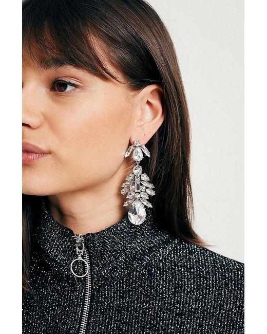 Urban Outfitters | Metallic Large Rhinestone Cluster Drop Earrings | Lyst