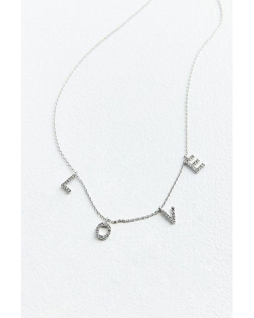 Urban Outfitters - Metallic Rhinestone Love Charm Necklace - Lyst