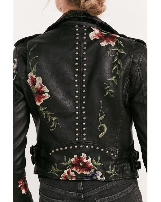 Blank Nyc As You Wish Floral Embroidered Moto Jacket In