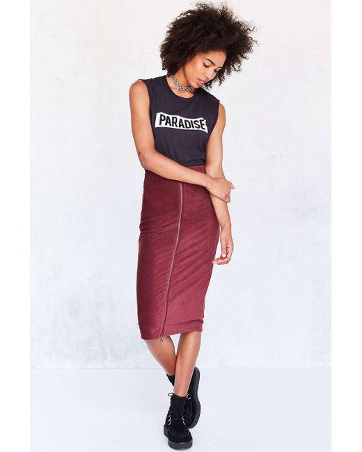 cooperative cordacious zip bodycon midi skirt in black lyst