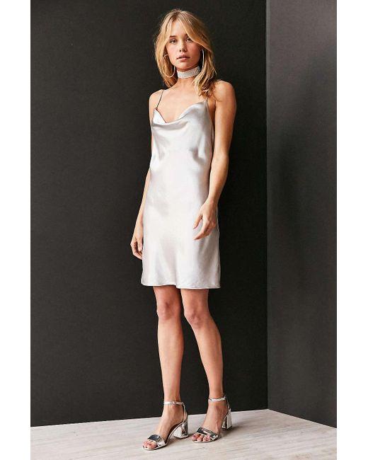 Bardot Mercury Satin Cowl Neck Mini Slip Dress In Metallic