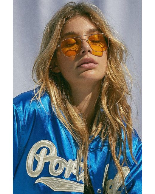 Urban Outfitters | Yellow Far Out Translucent Metal Aviator Sunglasses | Lyst