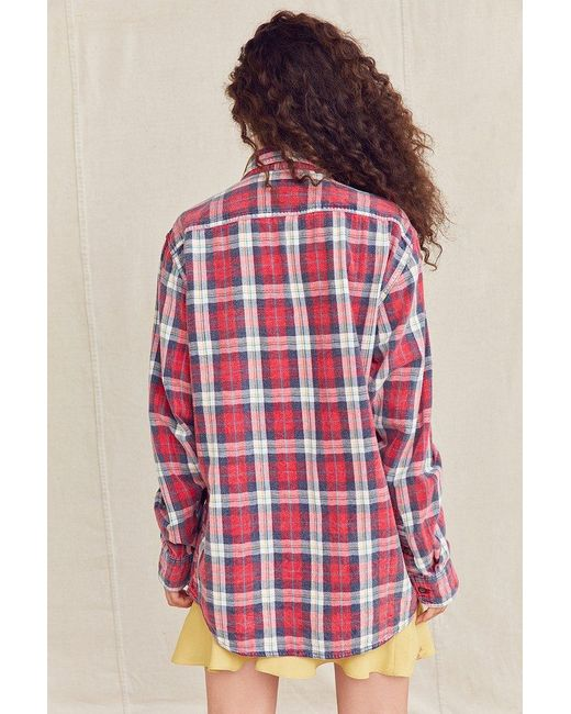Urban renewal recycled acid wash flannel shirt in red lyst for How to wash flannel shirts