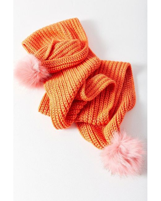 Urban Outfitters   Orange Colorblocked Pompom Scarf   Lyst