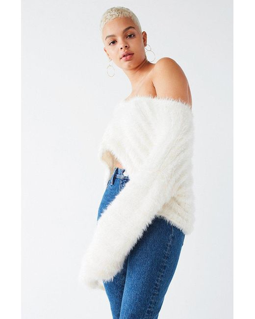 Urban outfitters Uo Leela Fuzzy V-neck Pullover Sweater in White ...