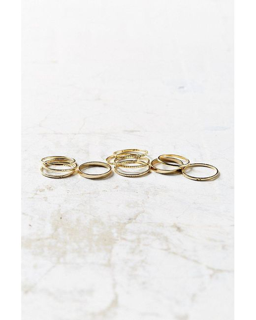 Urban Outfitters | Metallic Simple Ring Pack | Lyst