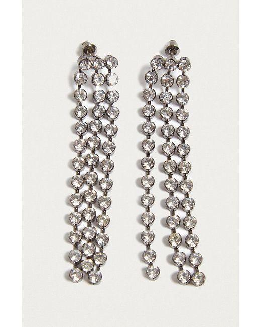 Urban Outfitters | Metallic Chunky Rhinestone Tassel Drop Earrings | Lyst