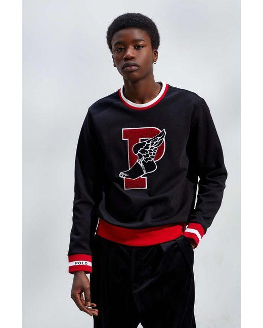 0a431108d0383 Polo Ralph Lauren - Stadium Logo Crew Neck Sweatshirt In Black for Men -  Lyst ...