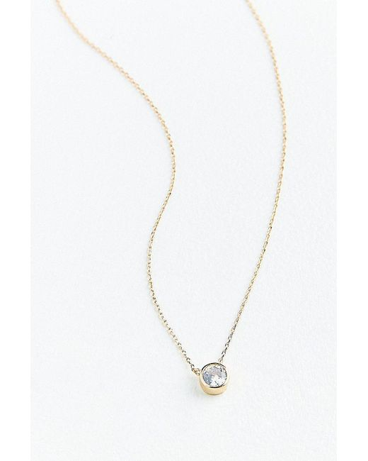 Urban Outfitters - Metallic Cubic Zirconia Gemstone Pendant Necklace - Lyst