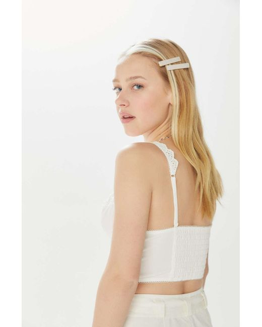 d1749987c1c ... Out From Under - White Ana Eyelet Bustier Bra Top - Lyst ...