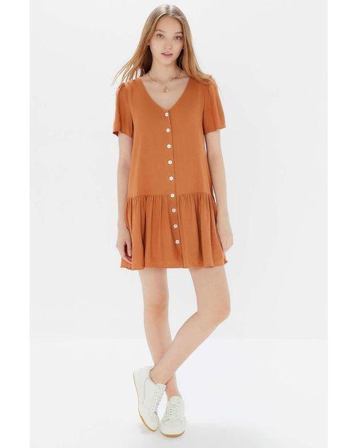 b3662d53a6f Urban Outfitters - Orange Uo Houston Linen Button-front Drop Waist Dress -  Lyst ...