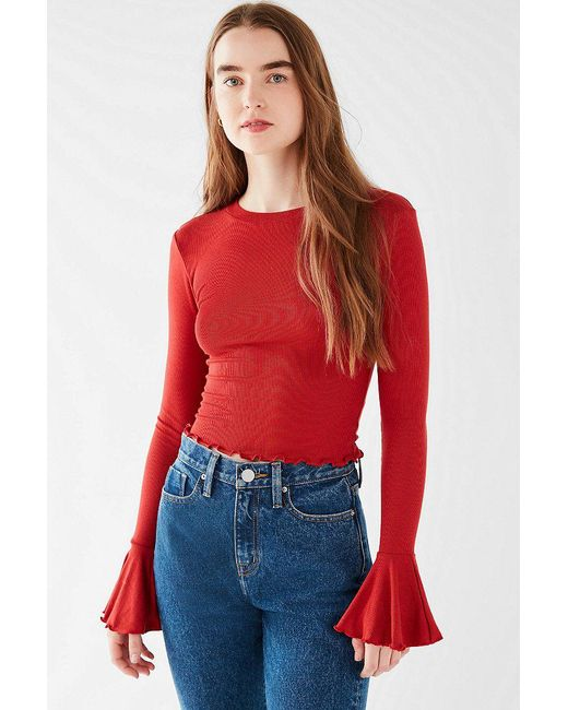 Urban Outfitters | Red Uo Perry Bell-sleeve Tee | Lyst