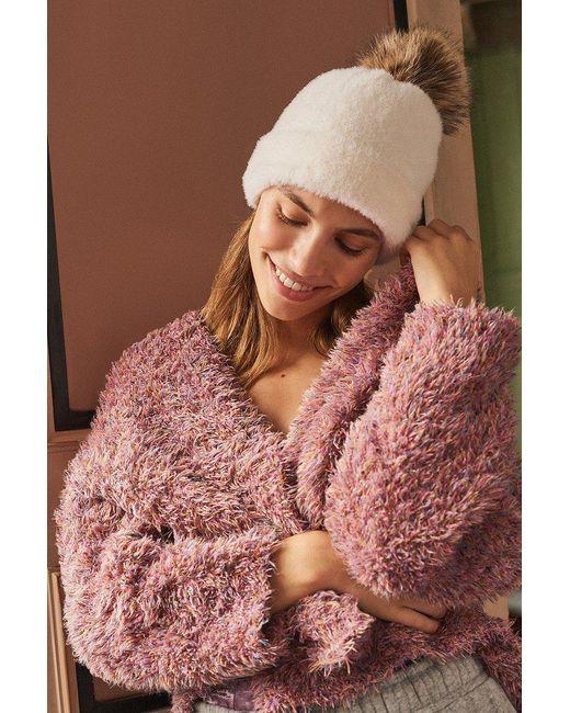 Urban Outfitters | White Fuzzy Pompom Beanie | Lyst