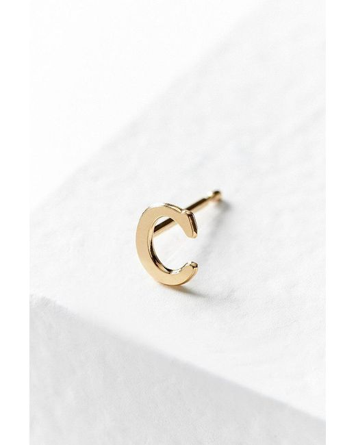 Urban Outfitters | Metallic 18k Gold + Sterling Silver Initial Post Earring | Lyst