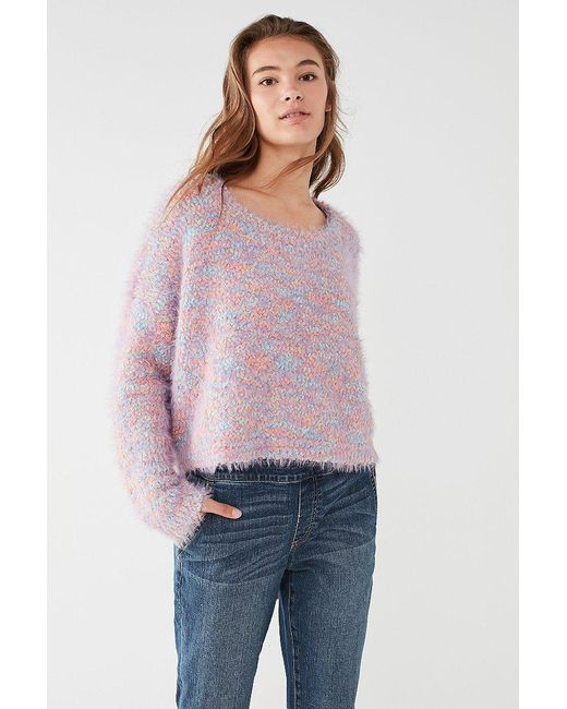 Urban outfitters Uo Funky Fuzzy Pullover Sweater in Purple | Lyst