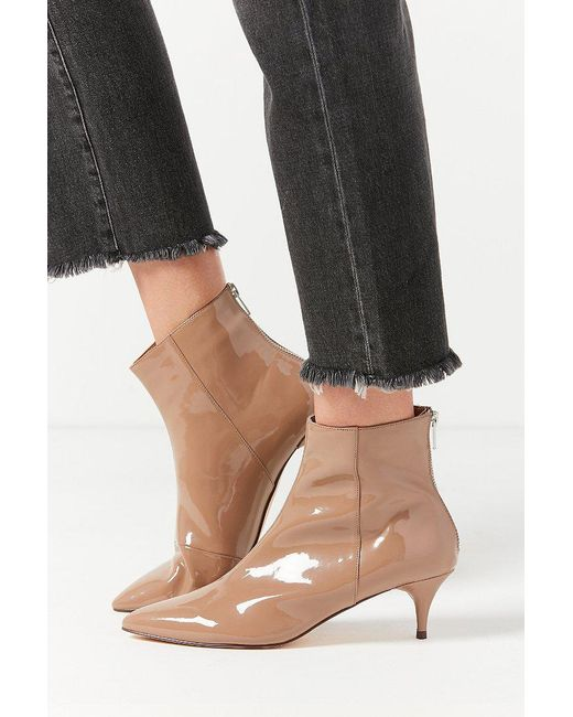 Urban Outfitters | Brown Bailey Patent Kitten Heel Ankle Boot | Lyst