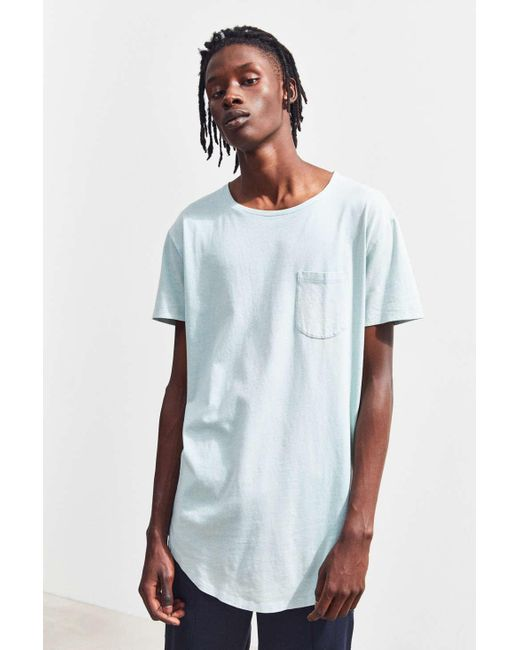 74b88e570a0d Urban Outfitters - Blue Uo Acid Wash Scoop Neck Curved Hem Tee for Men -  Lyst ...