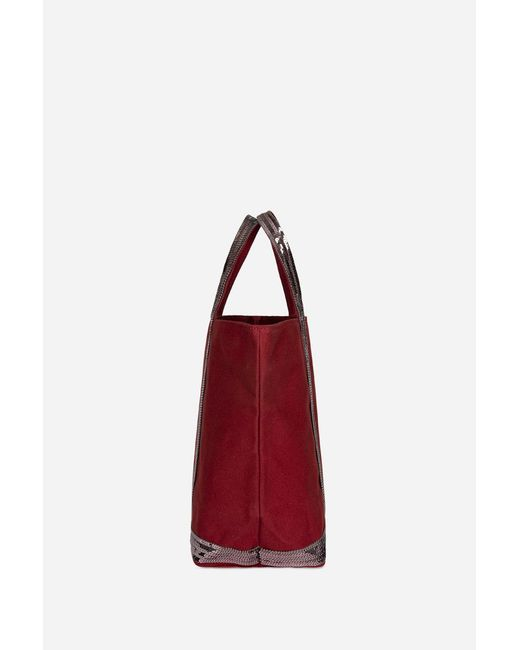 87116a07d ... Vanessa Bruno - Red Medium + Canvas And Sequins Cabas Tote Bag With Zip  - Lyst ...