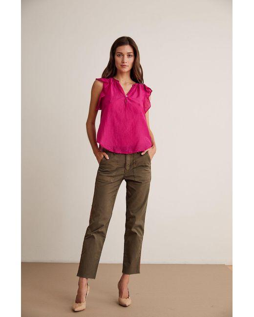 d7280c8678fc31 ... Lyst Velvet By Graham & Spencer - Pink Jayne Silk Cotton Voile Ruffle  Blouse ...